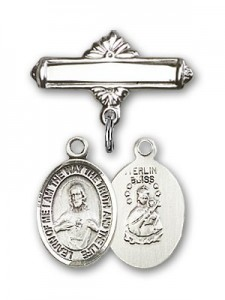Pin Badge with Scapular Charm and Polished Engravable Badge Pin [BLBP0945]