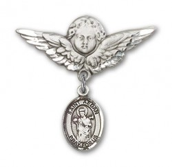 Pin Badge with St. Aedan of Ferns Charm and Angel with Larger Wings Badge Pin [BLBP1919]