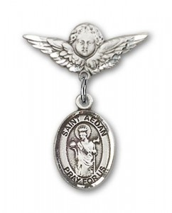 Pin Badge with St. Aedan of Ferns Charm and Angel with Smaller Wings Badge Pin [BLBP1920]