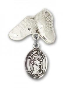 Pin Badge with St. Aedan of Ferns Charm and Baby Boots Pin [BLBP1922]