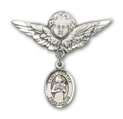 Pin Badge with St. Agatha Charm and Angel with Larger Wings Badge Pin [BLBP0282]