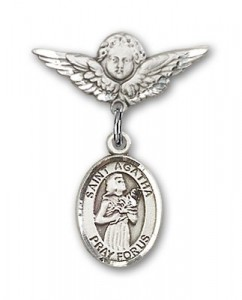 Pin Badge with St. Agatha Charm and Angel with Smaller Wings Badge Pin [BLBP0283]