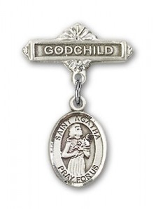 Pin Badge with St. Agatha Charm and Godchild Badge Pin [BLBP0284]