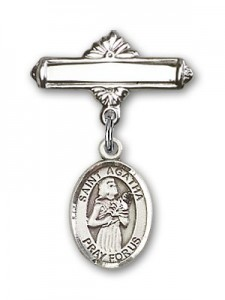 Pin Badge with St. Agatha Charm and Polished Engravable Badge Pin [BLBP0279]