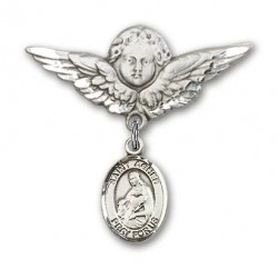 Pin Badge with St. Agnes of Rome Charm and Angel with Larger Wings Badge Pin [BLBP1158]