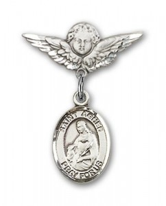 Pin Badge with St. Agnes of Rome Charm and Angel with Smaller Wings Badge Pin [BLBP1159]