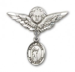 Pin Badge with St. Aidan of Lindesfarne Charm and Angel with Larger Wings Badge Pin [BLBP2339]