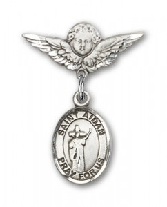 Pin Badge with St. Aidan of Lindesfarne Charm and Angel with Smaller Wings Badge Pin [BLBP2340]