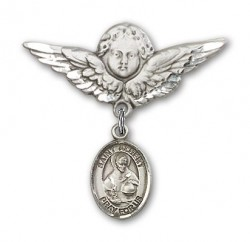 Pin Badge with St. Albert the Great Charm and Angel with Larger Wings Badge Pin [BLBP0268]