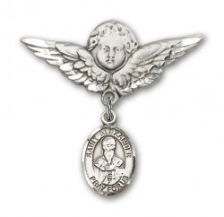 Pin Badge with St. Alexander Sauli Charm and Angel with Larger Wings Badge Pin [BLBP0345]