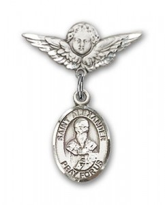 Pin Badge with St. Alexander Sauli Charm and Angel with Smaller Wings Badge Pin [BLBP0346]
