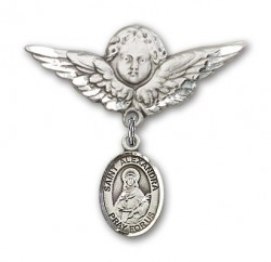 Pin Badge with St. Alexandra Charm and Angel with Larger Wings Badge Pin [BLBP1389]