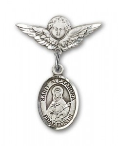 Pin Badge with St. Alexandra Charm and Angel with Smaller Wings Badge Pin [BLBP1390]