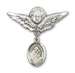 Pin Badge with St. Aloysius Gonzaga Charm and Angel with Larger Wings Badge Pin [BLBP1459]