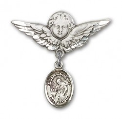 Pin Badge with St. Alphonsus Charm and Angel with Larger Wings Badge Pin [BLBP1431]