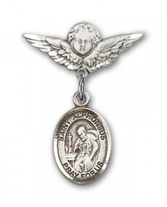 Pin Badge with St. Alphonsus Charm and Angel with Smaller Wings Badge Pin [BLBP1432]