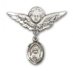 Pin Badge with St. Anastasia Charm and Angel with Larger Wings Badge Pin [BLBP1375]