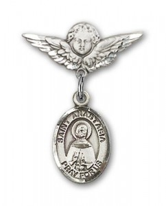 Pin Badge with St. Anastasia Charm and Angel with Smaller Wings Badge Pin [BLBP1376]