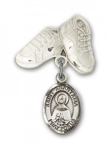 Pin Badge with St. Anastasia Charm and Baby Boots Pin [BLBP1378]