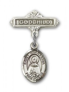 Pin Badge with St. Anastasia Charm and Godchild Badge Pin [BLBP1377]
