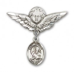 Pin Badge with St. Andrew the Apostle Charm and Angel with Larger Wings Badge Pin [BLBP0261]