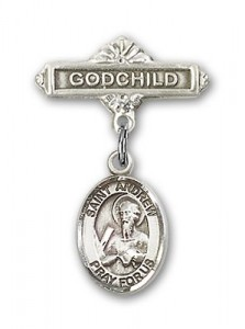 Pin Badge with St. Andrew the Apostle Charm and Godchild Badge Pin [BLBP0263]