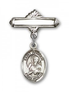 Pin Badge with St. Andrew the Apostle Charm and Polished Engravable Badge Pin [BLBP0258]