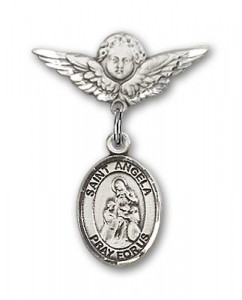Pin Badge with St. Angela Merici Charm and Angel with Smaller Wings Badge Pin [BLBP1858]