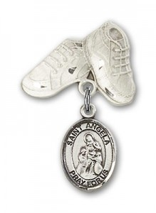 Pin Badge with St. Angela Merici Charm and Baby Boots Pin [BLBP1860]