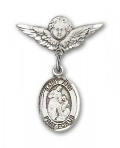 Pin Badge with St. Ann Charm and Angel with Smaller Wings Badge Pin [BLBP0276]