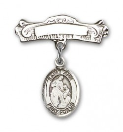 Pin Badge with St. Ann Charm and Arched Polished Engravable Badge Pin [BLBP0274]