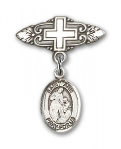 Pin Badge with St. Ann Charm and Badge Pin with Cross [BLBP0273]
