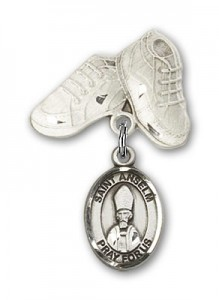 Pin Badge with St. Anselm of Canterbury Charm and Baby Boots Pin [BLBP2223]
