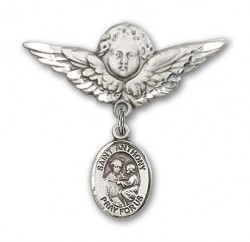 Pin Badge with St. Anthony of Padua Charm and Angel with Larger Wings Badge Pin [BLBP0289]