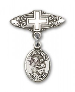 Pin Badge with St. Anthony of Padua Charm and Badge Pin with Cross [BLBP0287]