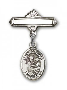 Pin Badge with St. Anthony of Padua Charm and Polished Engravable Badge Pin [BLBP0286]