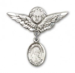 Pin Badge with St. Apollonia Charm and Angel with Larger Wings Badge Pin [BLBP0296]