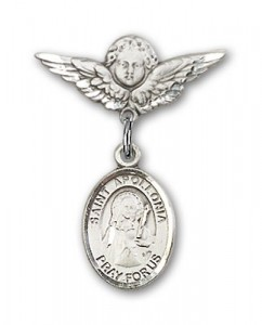 Pin Badge with St. Apollonia Charm and Angel with Smaller Wings Badge Pin [BLBP0297]