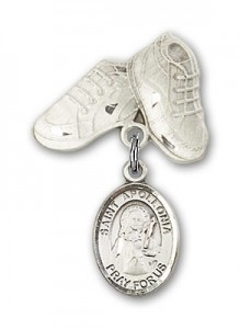 Pin Badge with St. Apollonia Charm and Baby Boots Pin [BLBP0299]