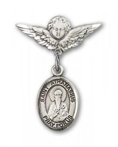 Pin Badge with St. Athanasius Charm and Angel with Smaller Wings Badge Pin [BLBP1941]