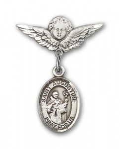 Pin Badge with St. Augustine Charm and Angel with Smaller Wings Badge Pin [BLBP0311]