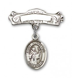 Pin Badge with St. Augustine Charm and Arched Polished Engravable Badge Pin [BLBP0309]