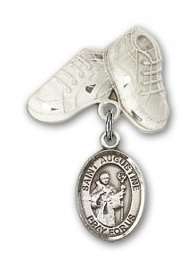 Pin Badge with St. Augustine Charm and Baby Boots Pin [BLBP0313]