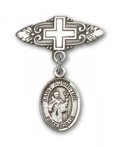 Pin Badge with St. Augustine Charm and Badge Pin with Cross [BLBP0308]