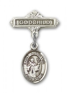 Pin Badge with St. Augustine Charm and Godchild Badge Pin [BLBP0312]