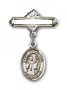 Pin Badge with St. Augustine Charm and Polished Engravable Badge Pin [BLBP0307]