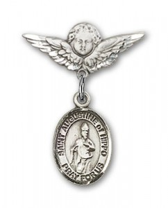 Pin Badge with St. Augustine of Hippo Charm and Angel with Smaller Wings Badge Pin [BLBP1299]