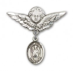 Pin Badge with St. Austin Charm and Angel with Larger Wings Badge Pin [BLBP1669]