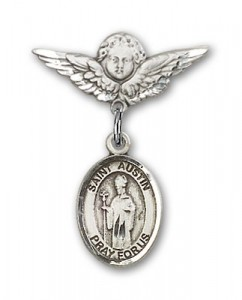 Pin Badge with St. Austin Charm and Angel with Smaller Wings Badge Pin [BLBP1670]
