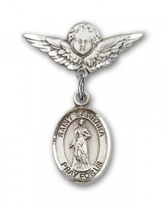 Pin Badge with St. Barbara Charm and Angel with Smaller Wings Badge Pin [BLBP0304]